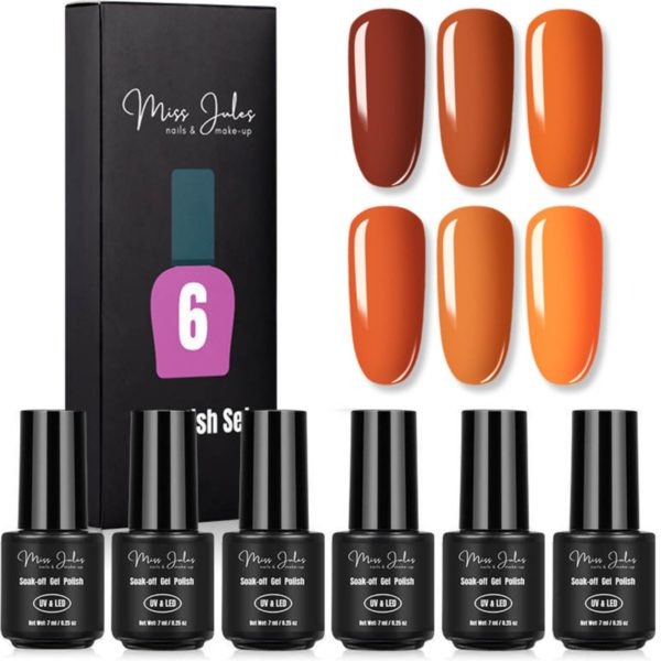 Miss Jules - 6-Delige Gellak Nagellak Set - Kleur Oranje - Glanzend & Dekkend Resultaat