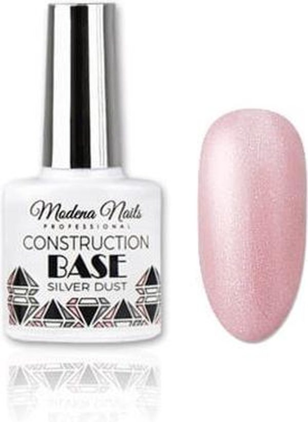 Modena Nails Construction Base Coat Gellak Silver Dust 7,3ml.