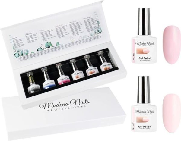 Modena Nails UV/LED Gellak Set 6 Kleuren - French Manicure