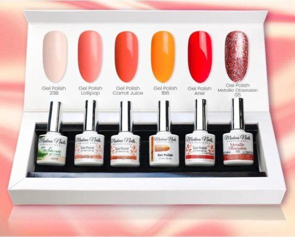 Modena Nails UV/LED Gellak Set 6 Kleuren - Red Orange 11
