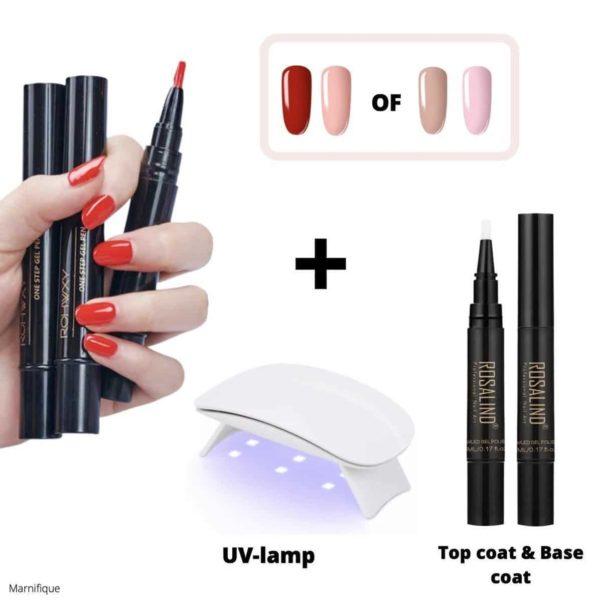 NIEUW - Gellak set - kit - Gel nagellak pen - 4 kleuren - UV mini nagellamp - zonder gellak remover - Top coat & Base coat - Biab - rubberbase - Rood & Zalmroze