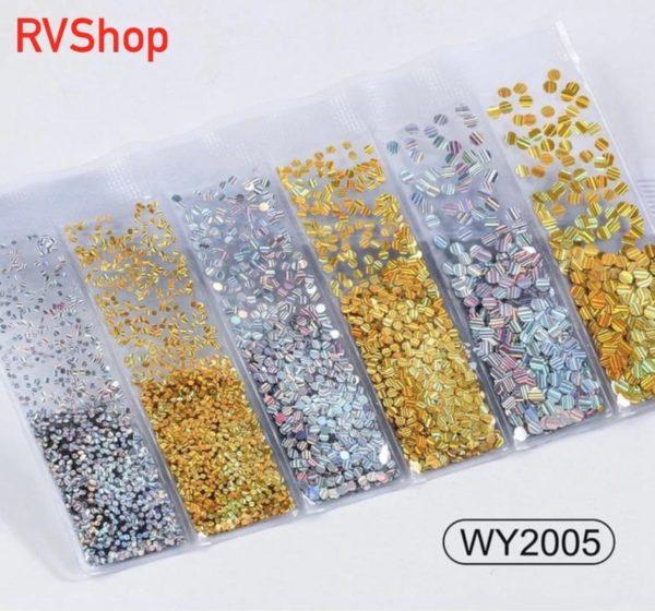 Nagel Decoratie Set - 6 Verschillende Vormen - 3D Glitter Nagel - Nagels - Decoratie - Bling Bling - Zilver - Gratis Verzending - Nagelset - Nagelstickers - Goud - Nagel Decoratie - Nail Art