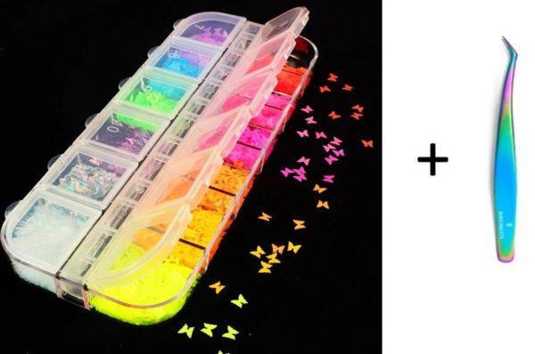 Nagel Decoratie Set - Nail Art Vlinder - Glitter - Lovertjes - Vlinder Nagel Glitter