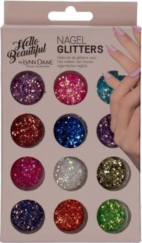 Nagel glitters | Nep nagels | Nail art | 12 kleuren | Glitter nails | Nagels versieren