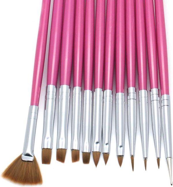 Nagel penselen - 12 fijne kwasten voor nail art - roze