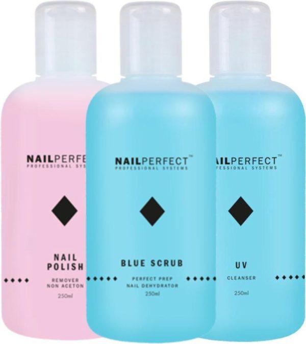 Nagel vloeistoffen Set - UV Cleanser - Remover - Blue Scrub - 750ml