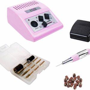 Nagelfrees JD500 roze-Originele+100 stuks schuurrolletjes-30.000rpm - Electrische nagelvijl-MBS®