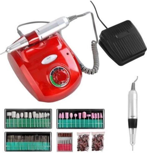 Nagelfrees Machine Set - Kleur rood - Professionele uitvoering - 65 Watt - 35.000 Toeren - Met freesbitjes en schuurrolletjes
