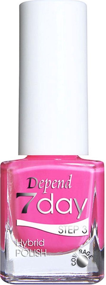 Nagellak Hybride Gellak zonder lamp Depend 7 Days Fuchsia roze 7186 5ml