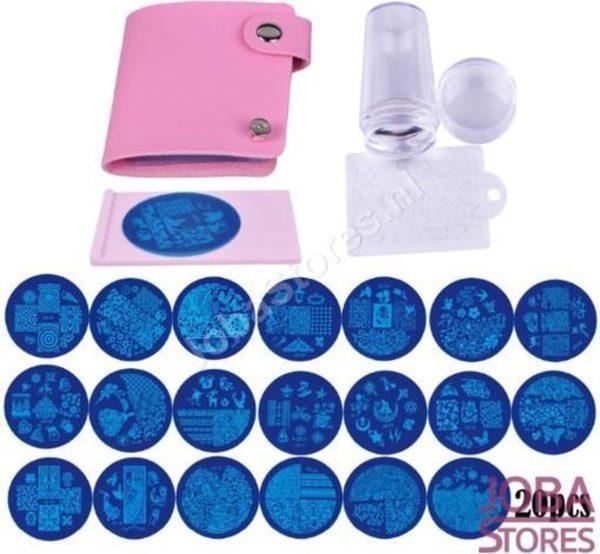 Nagellak Stempel Set (20 stempelplaten) inclusief opbergmap