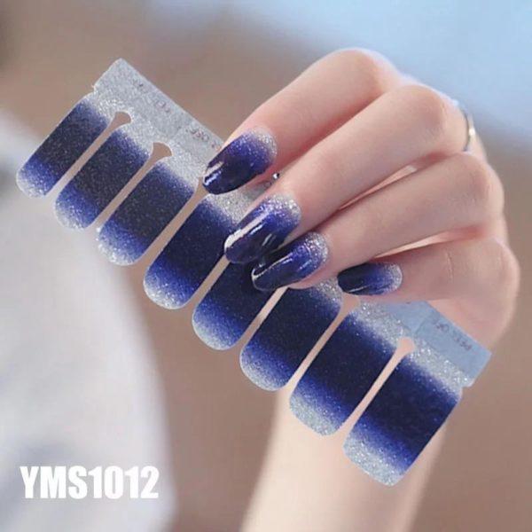 Nagelstickers - Nail wraps - Nail Art - Nagel Folie - Navy Blauw / Zilver