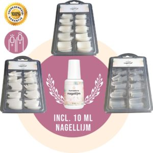Nageltips met Lijm (10ML) Nagels Geschikt voor Polygel Acryl Nagels Gellak Gel Nagellak - Nepnagels Kunstnagels - Nagellijm - Wit