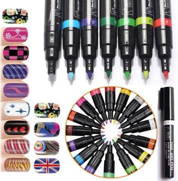 Nagelvijl - 1 Nail Art Pen Blauw 7ml - Nagelversiering - Make-up - Nagellak - Nagels Kleuren Verven - Nageltekening