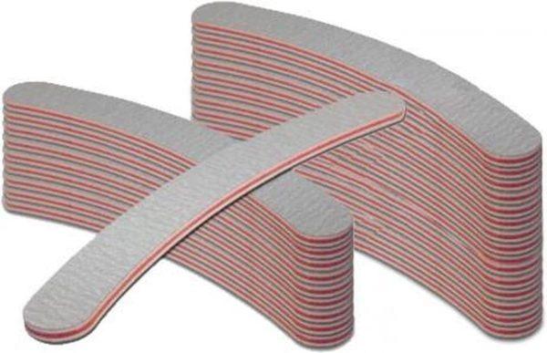Nagelvijl Boomerang - set 25 stuks - grit 100/180 - in de kleur grijs - laag geprijsd - voor kunstnagels - acryl nagels, gel nagels, gellak - manicure