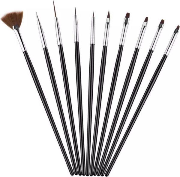 Nail Art Penselen Set 10 delig Zwart - Gel / Acryl Penselen Nail Brush
