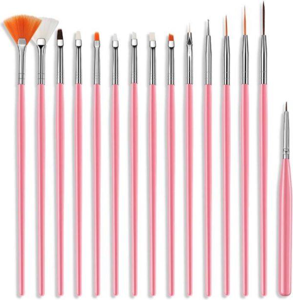 Nail Art Penselen Set 15 delig Roze - Gel / Acryl Penselen Nail Brush