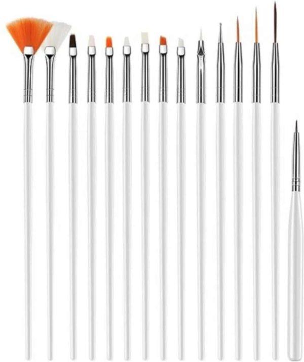 Nail Art Penselen Set 15 delig Wit - Gel / Acryl Penselen Nail Brush