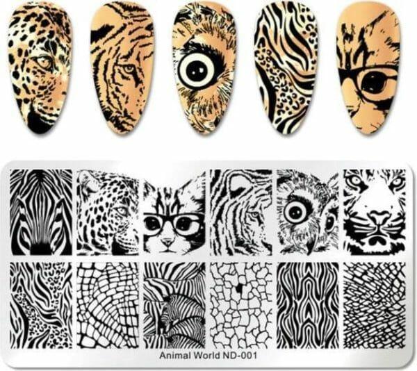 Nail Art Stempel plaat - French manicure - nagellak acryl - Afrika dieren Sjabloon