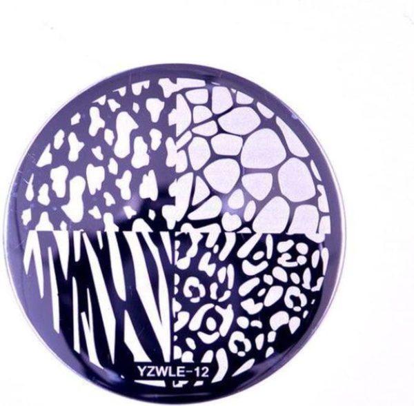 Nail Art Stempel plaat - French manicure - nagellak acryl - Dieren print Sjabloon