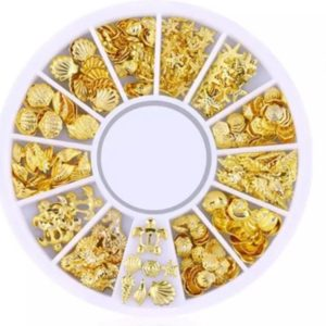 Nail art 3D | nageldecoratie | cirkelverpakking met 12 verschillende versieringen | goud