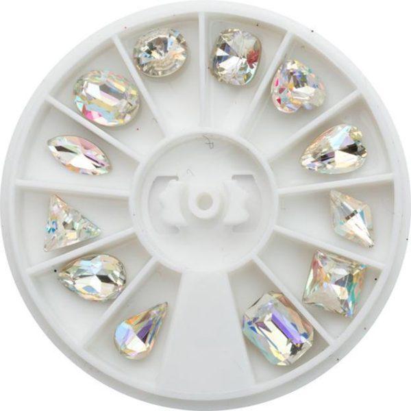 Nail art 3D | nageldecoratie | cirkelverpakking met diamantjes | 12 diamantjes