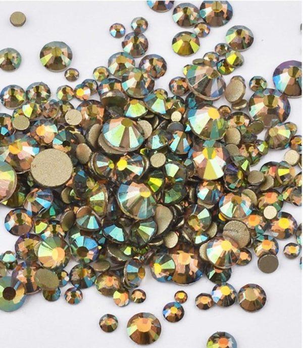 Nail art 3D   nageldecoratie   nagel art diamantjes   1440 stuks   bronze parelmoer overgang
