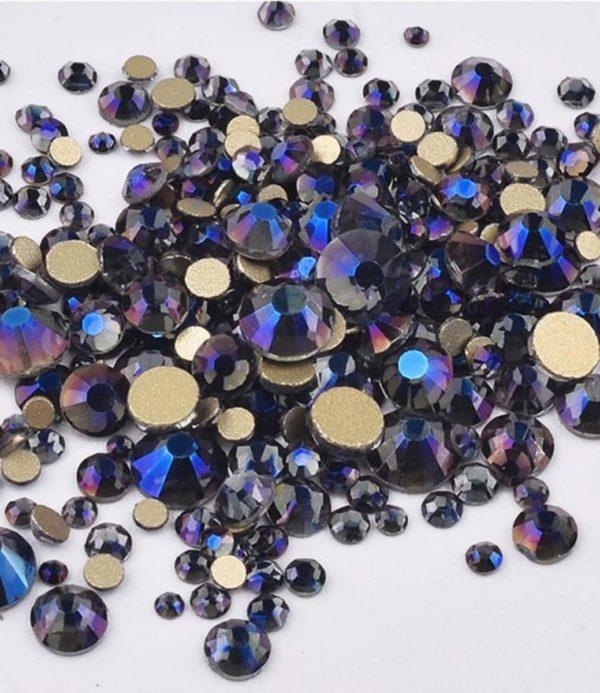 Nail art 3D | nageldecoratie | nagel art diamantjes | 1440 stuks | donkerblauw-paars