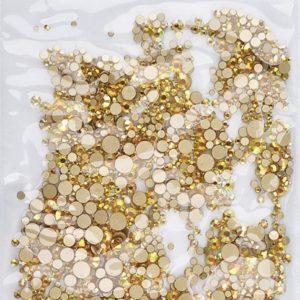 Nail art 3D | nageldecoratie | nagel art diamantjes | 1440 stuks | goud