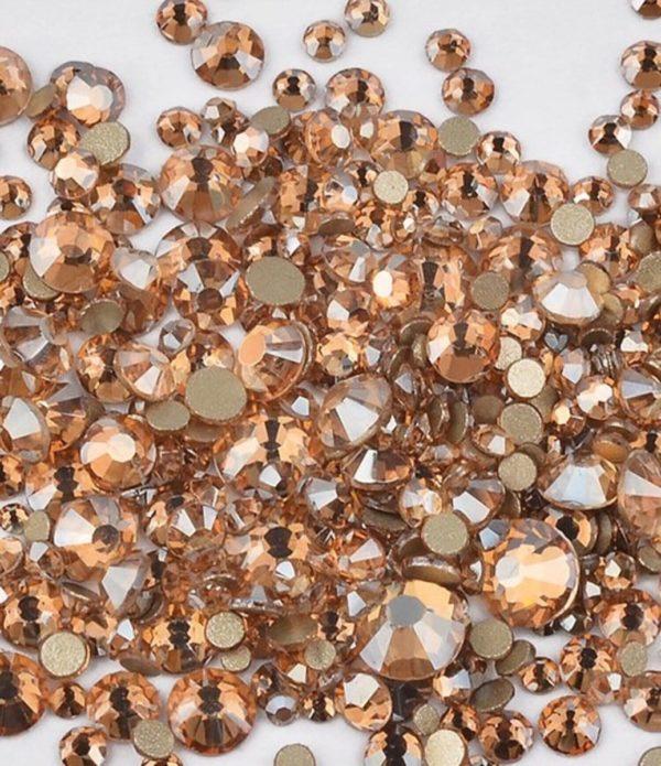 Nail art 3D | nageldecoratie | nagel art diamantjes | 1440 stuks | oranje/bronze