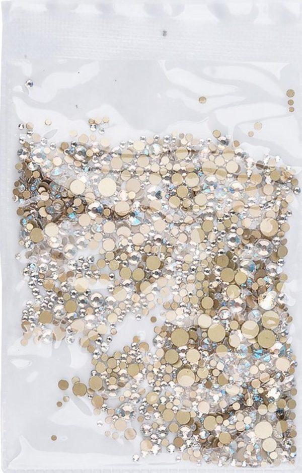 Nail art 3D | nageldecoratie | nagel art diamantjes | 1440 stuks | zilverwit