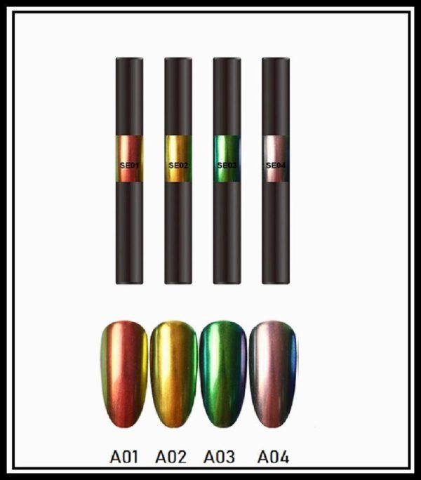Nail art Aurora pigment pen set 4 stuks/Powder Aurora pen/Magic Mirror Poeder/Powder Chrome Pen