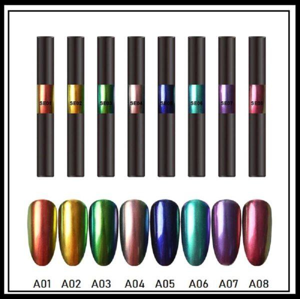 Nail art Aurora pigment pen set 8 stuks/Powder Aurora pen/Magic Mirror Poeder/Powder Chrome Pen