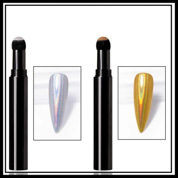 Nail art Holo pigment pen set 2 stuks/Powder Holographic pen/Magic Mirror Poeder/Powder Chrome Pen