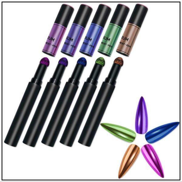 Nail art Mirror pigment pen set 5 stuks/Powder Mirror pen/Magic Mirror Poeder/Powder Chrome Pen