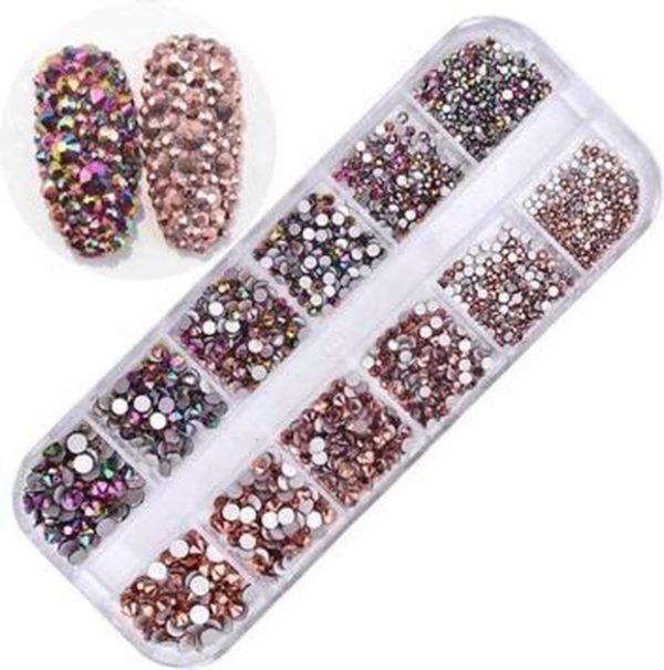 Nail art diamonds/ glitter steentjes bakje 12 stuks Rose & multi