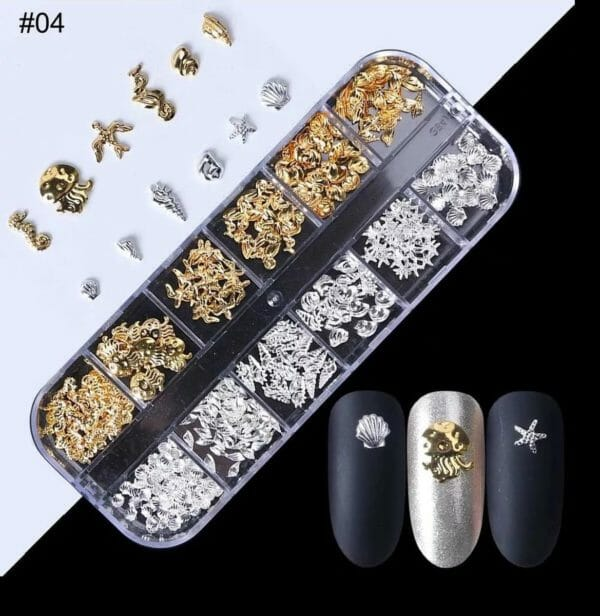 Nail art professional nail studs 3D | Nagel Steentjes |Rhinestones| Goud/Zilver | RS-04 | DM-Products