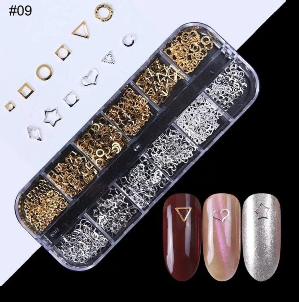 Nail art professional nail studs 3D   Nagel Steentjes  Rhinestones  Goud/Zilver   RS-09   DM-Products