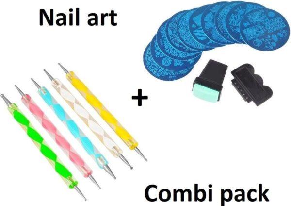 Nail art set - Manicure Dotting Pennen 5 delig + Ronde Nagel Stempel Set Met 10 Plaatjes- Underdog tech