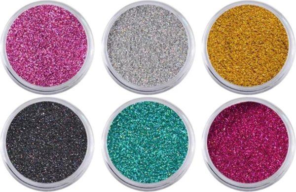 Nail art set   nageldecoratie   nagel art glitterpoeder   set van 6 kleuren