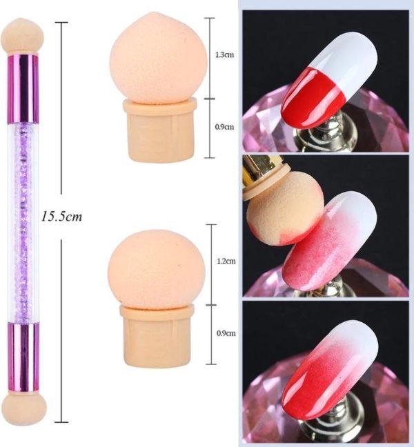 Nail art stempel sponsjes pen - met 6 sponsjes - voor gellak of nagellak - manicure - Sparkolia