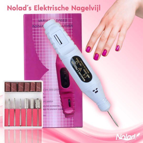 Nolad® Elektrische Nagel Vijl - nagelvijl met Freesjes en rolletjes - 6 bitjes - voor acryl-, gel- en natuurlijke nagels - manicure en pedicure- complete set - Wit