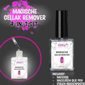 Orby® Magische Gellak Remover Set (4-in-1) - [INCLUSIEF Bokkenpootje + Olie pen + Nagelvijl] - Gellak Verwijderen - Nagellak Remover