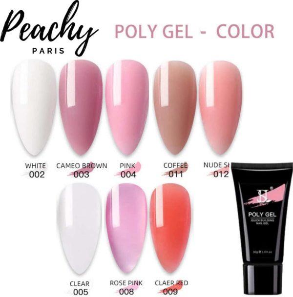 PEACHY ® Paris POLYGEL - Acrylgel - 8 Kleuren Kit : Wit/Rose/Cameo Brown/ Coffee/ Nude/Clear/Rose Pink/Clear Red 30gr- Gellak- Gellish- Nagellak - Manicure -Gel Nagellak- Nagel verlenging- Acryl Nagels
