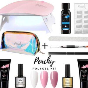 PEACHY ® Paris POLYGEL Kit - Gift Bag - Mini UV/Led Lamp - 3 Kleuren Kit : Wit/Roze /Cameo Brown 30 gr - Gellak- Nageldroger Nagellak set- Starterspakket Pack - Gel Nagellak - Nagelverlenging - Nail Extention - Tips