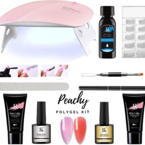 PEACHY ® Paris POLYGEL Kit - Mini UV Led Lamp - 2 Kleuren Clear Red/Rose Pink 30gr - Gellak - Nageldroger Nagellak set- Starterspakket Starterpack Start pakket - Gel Nagellakset - Nagelverlenging - Nail Extention - Tips