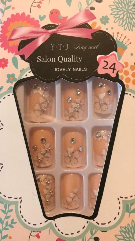 Plaknagels / Nageltips Set French Manicure Bloem Strass - 24 stuks -Plaknagels / Nepnagels met lijm - French Nail Art Plaknagels Tips Acrylnagels & Gelnagels -