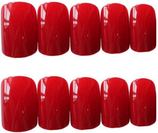 Plaknagels / Nageltips Set Rood - 24 stuks - Kunstnagels met lijm - Nail Art Tips Acrylnagels & Gelnagels - Nepnagels Set