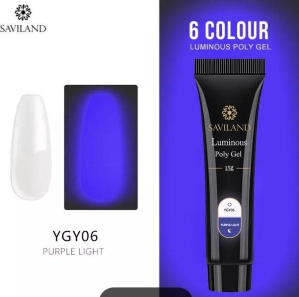 Polygel - Color Glow In The Dark Purple Light - Polygel nagels - 15 gram