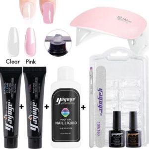 Polygel - Gelnagels Starterspakket - Polygel Starterspakket - Gellak starterspakket - Gel Nagellak - Kunstnagels - UV Lamp - 2 kleuren