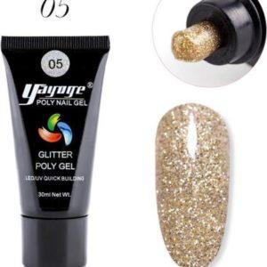 Polygel Kleur - Gelnagels kleur - Polygel Starterpakket - Gelnagels Starterspakket - Gel Nagellak - Kunstnagels - Goud Glitterend